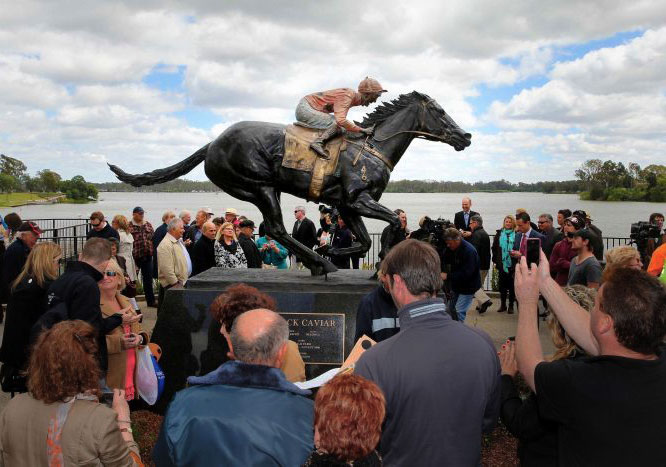 Black Caviar Statue at Nagambie