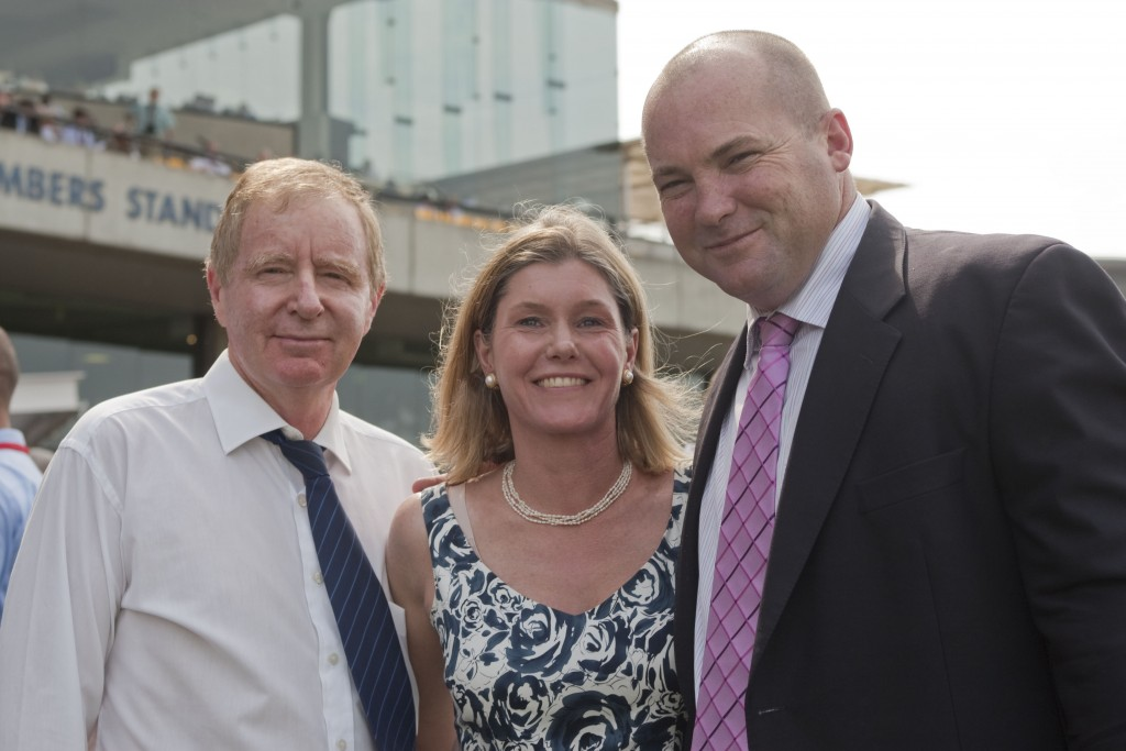 Owners David and Jenny Moodie with trainer Peter Moody