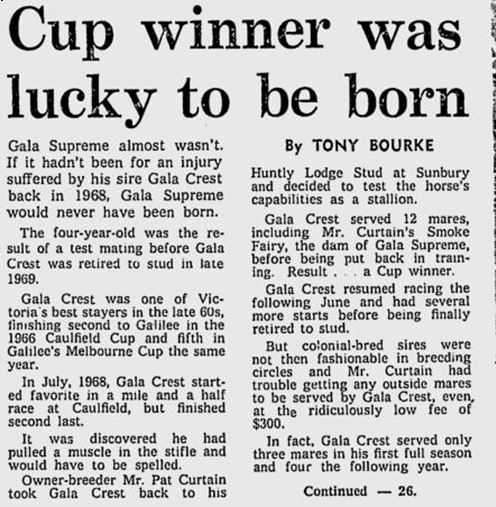 Cup Winner Lucky to be Born The AGe Wed Nov 7 1973