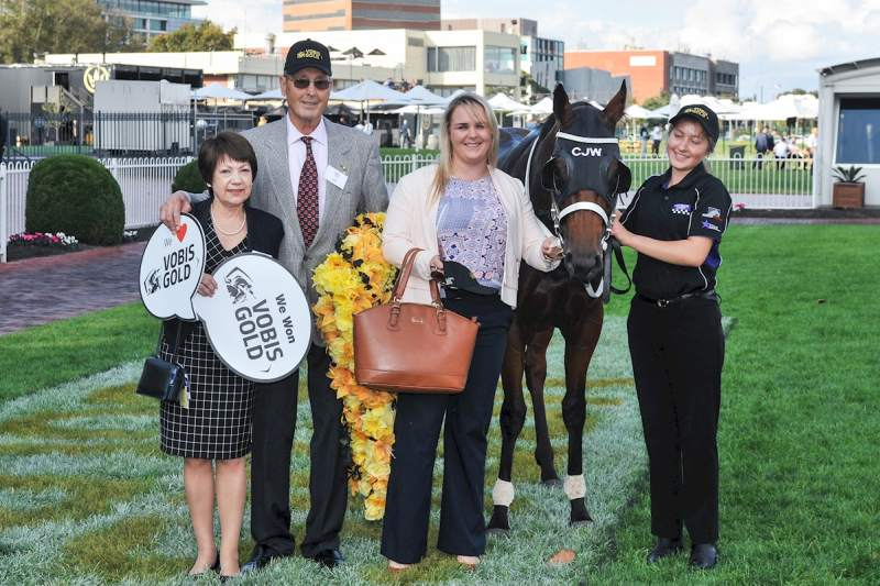 Valda Klaric (left) & Ivan Cajkusic with French Emotion after winning the VOBIS Gold Distaff (Ross Holburt-Racing Photos)