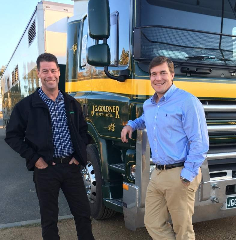 Goldners Craig Horgan and Charles Jennings at the Wagga Wagga base of the transport trial